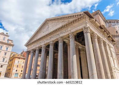 Pantheon main entrance colonnade, Rome, Italy.