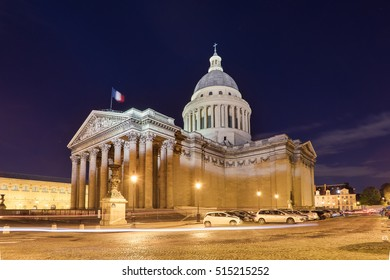 Pantheon at night, Paris, France. It is a secular mausoleum containing the remains of distinguished French citizens.Located in the 5th arrondissement of Paris on the Mountain Saint Genevieve.