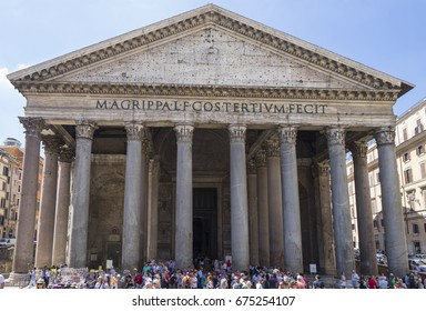 Pantheon in Rome. Ancient roman pantheon. Front view. Rome, Italy. June 2017