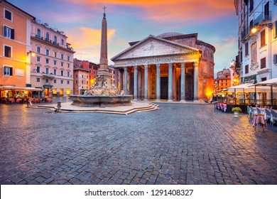 Pantheon, Rome. Cityscape image of Rome with Pantheon during beautiful sunrise.