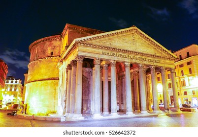 The Pantheon in Rome - famous landmark in the historic district - ROME / ITALY - NOVEMBER 6, 2016