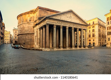 Pantheon in Rome, Italy. Temple of all the gods. Former Roman temple, now church, in Rome. Piazza della Rotonda.