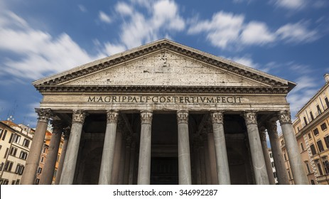 Pantheon under a sky of clouds moving