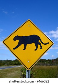 Panther-crossing road sign in Florida Everglades National Park.