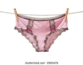 Panties on a Clothesline isolated on a white background