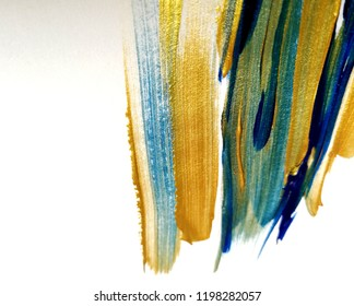 panting acrylic colours. Abstract art background on paper.Brushstrokes of paint.Contemporary art.Colourful painting.Hand drawn close up.