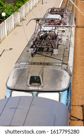 pantograph and electric equipment on the roof of an electric locomotive