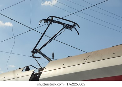 Pantograph of a train on electric line