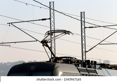 Pantographs and the overhead wires on the train station