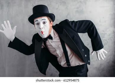 Pantomime theater artist posing, mimic male person