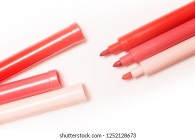 Panton color of the year 2019 - Living Coral. Close up to trend colour markers on white background