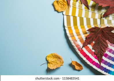 Pantone book. Creative layout of colorful autumn leaves, season concept, gradient of warm shades of fall with parts of leaf