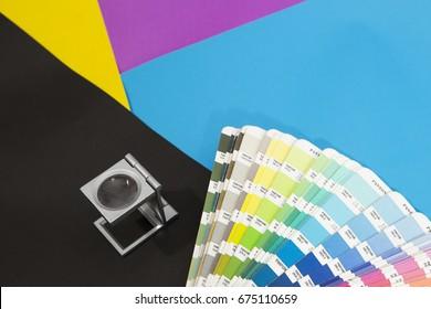 Pantone Color Palette Guide on CMYK background