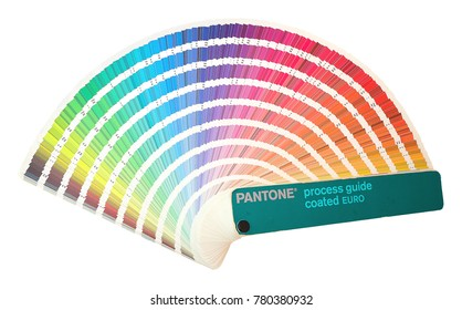 Pantone process guide coated EURO. Rainbow sample colors catalogue in many shades of colors or spectrum isolated on white background. Color chart with color code detail information.