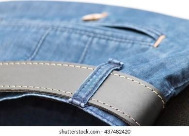 Pants and belt close-up, jeans