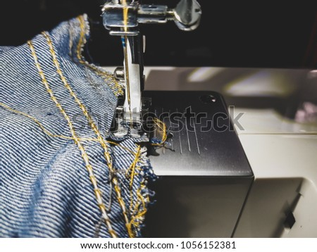 Pants Jeans Electric Sewing Machine Needle Thread Sewing Stock Photo Best How To Take In Jeans Without A Sewing Machine