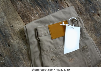 Pants on the old wooden background