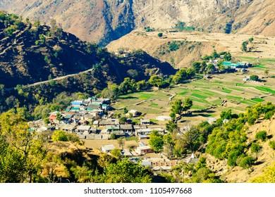 Pantwari a Himalayan village in Uttarakhand, India. This village is base location for Nag tibba trekk on Jhandhidar Hills of Himalayas.