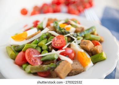 Panzanella, healthy Italian Salad with asparagus