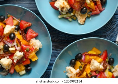 Panzanella Salad with Bread Olives Pepper Tomatoes and Capers