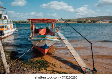 Pao de Acucar, Alagoas, Brazil - October 21, 2017 - Passenger boats that cross the Sao Francisco River between the Brazilian states of Alagoas and Sergipe