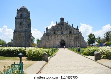 Paoay, Ilocos Norte / Philippines - May 8, 2016: Paoay Church - One of the Baroque Churches of the Philippines, A UNESCO World Heritage Site