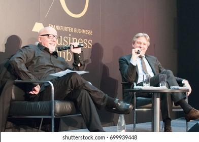 Paolo Coehlo, Bestselling author, with Jürgen Boos, director Frankfurt Bookfair, at the Frankfurt Bookfair 2014, Frankfurt am Main