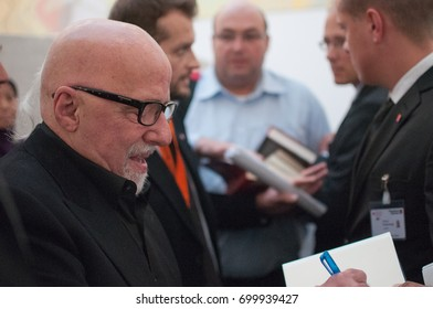 Paolo Coehlo, Bestselling author, signing books at the Frankfurt Bookfair 2014, Frankfurt am Main