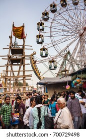 PAONTA SAHIB, INDIA - MARCH 22, 2017: people at a fairground at  Paonta Sahib, India, a Sikh pilgrimage destination.