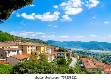 Paoramic view of Cortona, medieval town in Tuscany, Italy