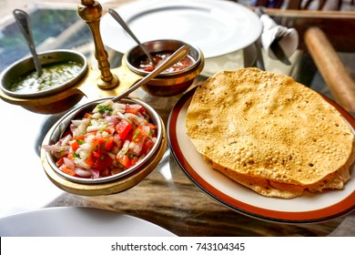 Papad, indian traditional food served with garnish