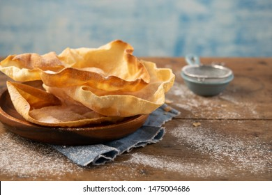 Papadum or papad traditional indian food, vegetarian bread from lentils or beans. Food popular in Nepalese, Pakistani, Sri Lankan, Indian and Bangladeshi cuisines. Space for text.