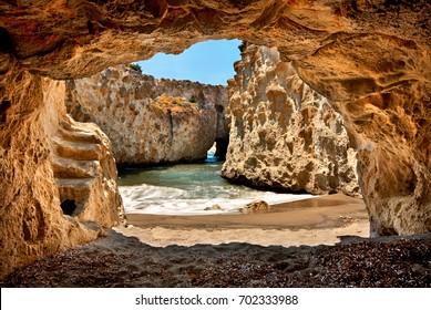 Papafrangas cave and beach, Milos island, Cyclades, Greece.