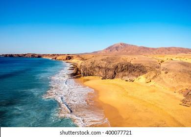 Papagayo beach near Las Coloradas resort on the south of Lanzarote island in Spain