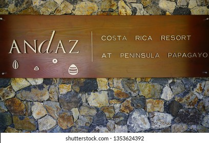 PAPAGAYO, COSTA RICA -18 MAR 2019- View of the sign for the Andaz Peninsula Papagayo Resort, a luxury hotel located on the Peninsula Papagayo near Guanacaste, Costa Rica.