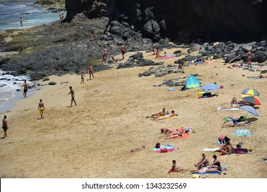 Papagayo, Lanzarote - June 24, 2008: People relax on the famous Papagayo Beach on the Lanzarote Island in the Canary Islands, Spain