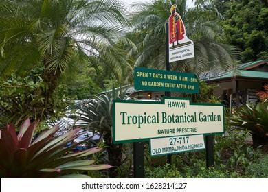 Papaikou, Hawaii, USA - Dec 3, 2019: The entrance sign at Hawaii Tropical Botanical Garden, a nonprofit botanical garden and nature preserve on the Big Island of Hawai'i.