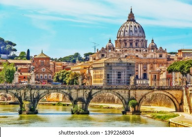 The Papal Basilica of St. Peter in the Vatican (St. Peter's Basilica), an Italian Renaissance church in Vatican City, the papal enclave within city of Rome, view from Tiber river on Ponte Sant'Angelo