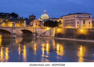 The Papal Basilica of St. Peter in the Vatican City seen from St Angelo bridge