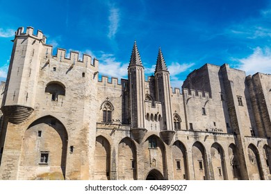 Papal palace in Avignon in a beautiful summer day, France