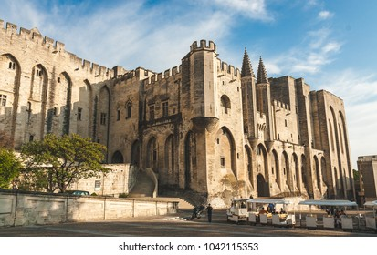 Papal Palace, Palais des Papes, former residence of Pope in 14th century is the largest medieval fortress and gothic palace of Europe and Unesco World Heritage Site. Avignon, France