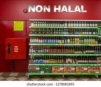 Papar, Sabah, Malaysia - August 20 2013: Non-Halal corner in GIANT SUPERMARKET, indicating, that those products are forbidden for muslims.