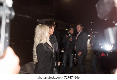Paparazzi and camera flashes during Kim Kardashian West and Kris Jenner's arrival to the Alexander Wang SS18 Runway Show for New York Fashion Week 2017 in Brooklyn, New York on September 9, 2017.