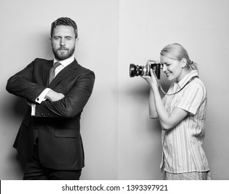 Paparazzi concept. Photosession for business magazine. Handsome businessman posing camera. Nice shot. Fame and success. Photographer taking photo successful businessman. Businessman enjoy star moment.