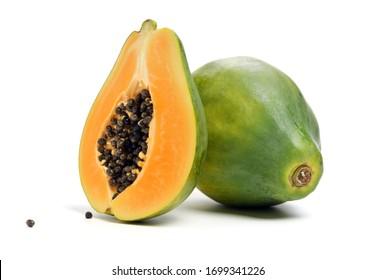 Papaya fruit isolated on a white background