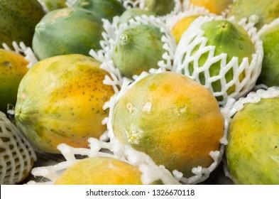 papaya fruit stacked on the marketplace at Taiwan
