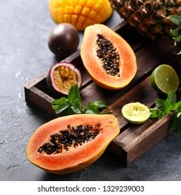 Papaya fruit, sweet ripe fresh papaya, raw vegan food, square image