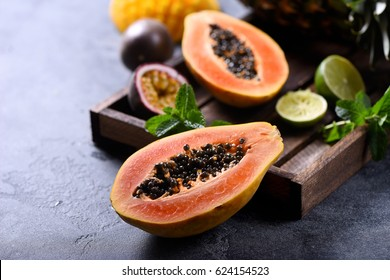 Papaya fruit, sweet ripe fresh papaya, raw vegan food