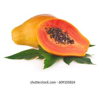 Papaya fruits isolated on white background.