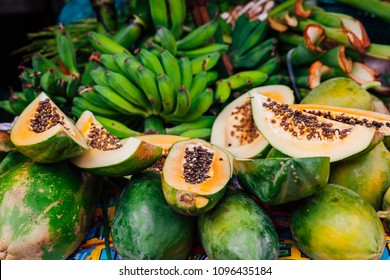 Papaya fruits on the stall at the street market, Hoi An, Vietnam